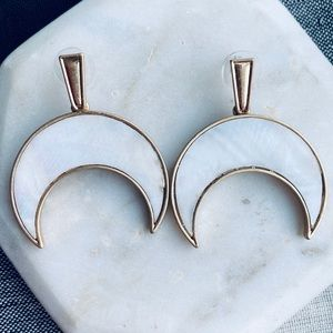 Gold Crescent Earring Mother Pearl Stone Dangle
